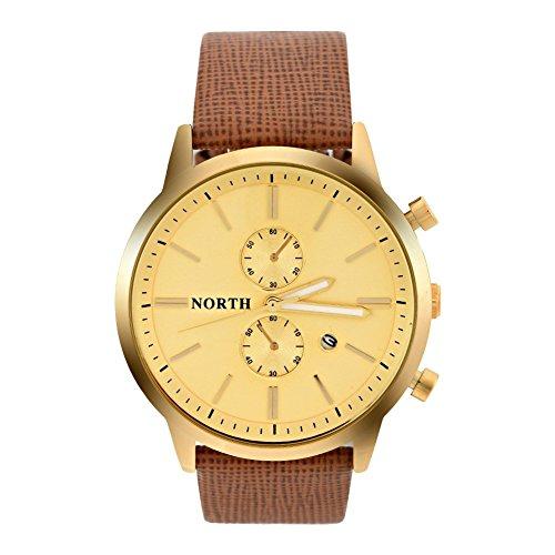 Uhren für Männer, Analog Round Quartz Lederarmband Date Luminous Hands Watch Armbanduhr(Gold Dial)