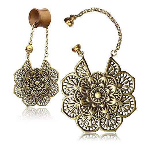 viva-adorno 1 Stück Anhänger für Flesh Tunnel Ohr Piercing Ohrring Messing Gold Charm Magnet Ethno Vintage Antik Style Z538B (Gold Ohrringe Aus Indien)
