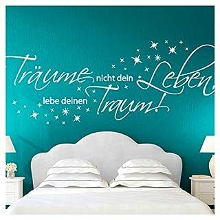 Wandora Wandtattoo Zitat Träume Nicht Dein Leben I Mittelgrau (BxH) 150 x 58 cm I Wohnzimmer Schlafzimmer Sticker Aufkleber Wandaufkleber Wandsticker G026