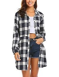 UNibelle Damen Hemd Langarmshirt Kariertes Hemd Karohemd Hemdkleid  Blusenkleid Oversize Cardigan Top Shirtkleid Karo Kleid 2d75362a54