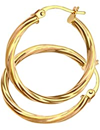 Citerna Diamond Cut 9 ct Yellow, White and Rose Gold Linked Hoop Earrings