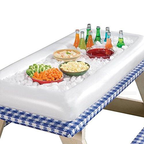 Aufblasbare Servierbar Buffet, Aufblasbare Salatbar Tablett Essen Getränkehalter tragbar BBQ Picknick Getränkehalter Tablett Kühler 52.8inch x 25.2inch weiß