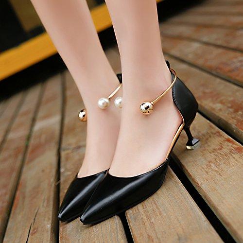 XY&GK Donna Sandali estivi lato appuntito vuoto sandali femmina Baotou tallone lato vuoto Scarpe Donna Scarpe da lavoro Black