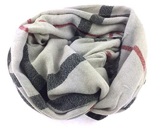 NB24 Damen Loop Schal (177f), Endlosschal, Rundschal, Damenmode, grau weinrot und schwarzen Streifen, Damenbekleidung, Damenschal, Tuch