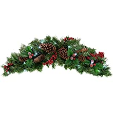 Natural Pine Cone & Berry Decorated Pre-Lit Arch Garland Christmas Decoration Illuminated with 20 Cool White LED Lights - Size 90cm