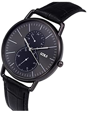 Retro Entwurf Geschäft Leder Band Armbanduhr HARRYSTORE Männer Analoge Legierung Quarz Uhr (Schwarz)