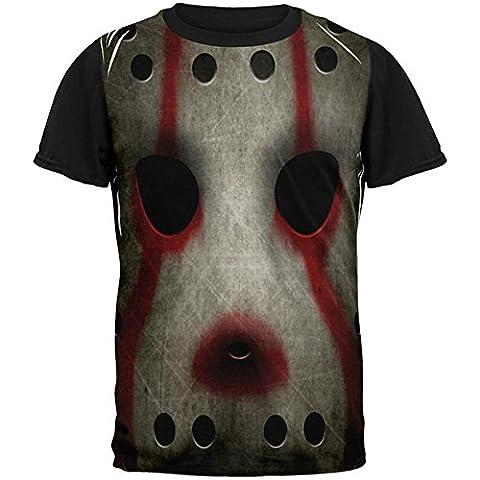 Halloween Horror Film Hockey Maske Kostüm auf der ganzen Mens Black Back T Shirt Multi X-LG (Music Man Film Kostüme)