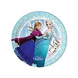 Procos 85427 - Piatti Carta Disney Frozen Ice Skating (Ø20 cm), 8 Pezzi, Azzurro