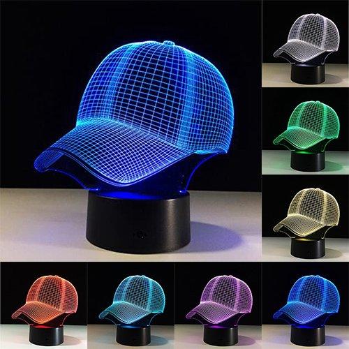 3D LED Hut Nachtlicht Touch 7 Farben Schreibtischlampe USB 3D Tischlampe Dekoration für Kinder Geschenk Spielzeug