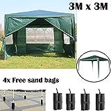 AutoBaBa Wasserdicht 3x 3m Garten Pavillon Zelt Stahl Tube Stark Festzelt, grün, PE 4Gratis Pavillon Sand Gewichte