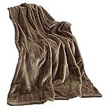 Hochwertige Pelzimitat Decke Taupe Sand Decke Wohndecke Plaid 150x200 Nerzoptik Kuscheldecke Felloptik Tagesdecke … (Taupe)