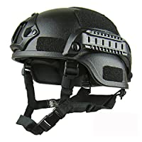 GEZICHTA Protective Airsoft Helmets, MICH 2001 Action Version Tactical Helmet with NVG Mount and Side Rails for Outdoor Airsoft Paintball CS Game (black)