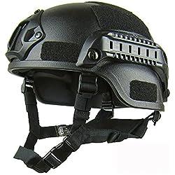 Gezichta Casque tactique de protection style MICH 2001 avec support NVG et rails latéraux pour paintball, airsoft ou CS, Noir