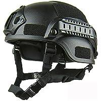 GEZICHTA Casco de Protección para Airsoft, Mich 2001, Versión Táctica, con Soporte NVG y rieles Laterales para Airsoft Paintball CS Game, Negro