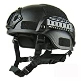 ROKFSCL Casco táctico Ligero Estilo Militar Casco rápido SWAT Combate para Airsoft al Aire Libre Paintball CS Game CQB Shooting Safety Headgear, Negro
