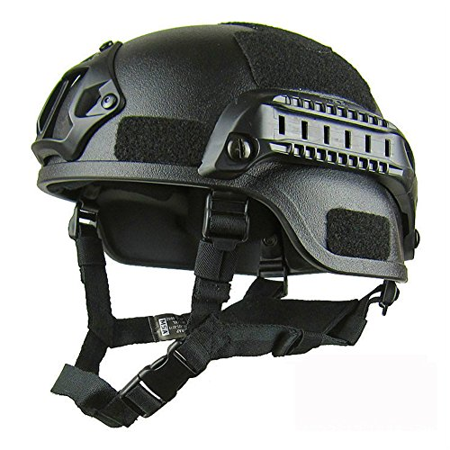 GEZICHTA Casco Protector de Airsoft, Mich 2001 Versión de acción táctica Casco con Soporte NVG y rieles Laterales para Aire Libre Airsoft Paintball CS Game, Negro