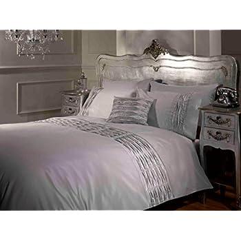 bella diamante double bed size sparkle effect silver grey duvet cover quilt bedding set hallways