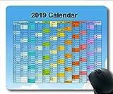 Yanteng 2019 Calendrier Tapis de Souris Noir, Jours de Calendrier Tapis de Souris de Jeu, planificateur de Calendrier 2019 avec détails de Vacances