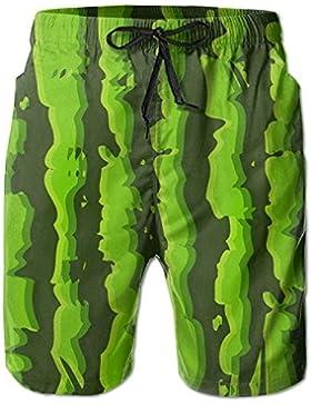 Green Watermelon Seamless Men's/Boys Casual Shorts Swim Trunks Swimwear Elastic Waist Beach Pants with Pockets
