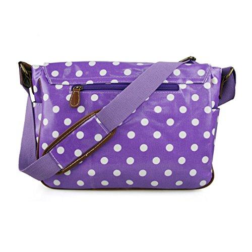 Miss Lulu , Damen Umhängetasche Einheitsgröße violett mit weißen punkten