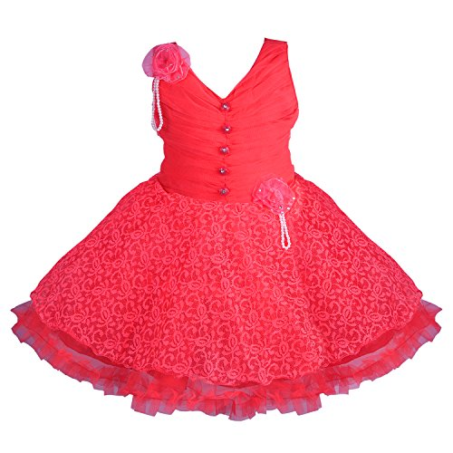 Wish Karo Girls Party Wear Frock Dress (fr1031T-5-6 Yrs_Tomato_5-6 Years)