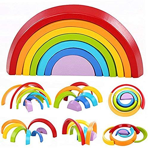 SUNEVEN Giocattolo Giocattolo impilabile Arcobaleno per Bambini, Chenqi Puzzle Giocattolo Appeso Geometria Arcobaleno di Gomma per Bambini Creativo e Giocattolo educativo 7pcs (A)