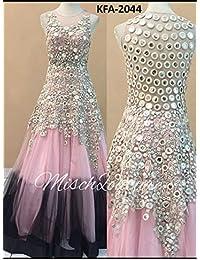 Adorn Fashion Light Pink And Black Nylon Padding Net Long Gown