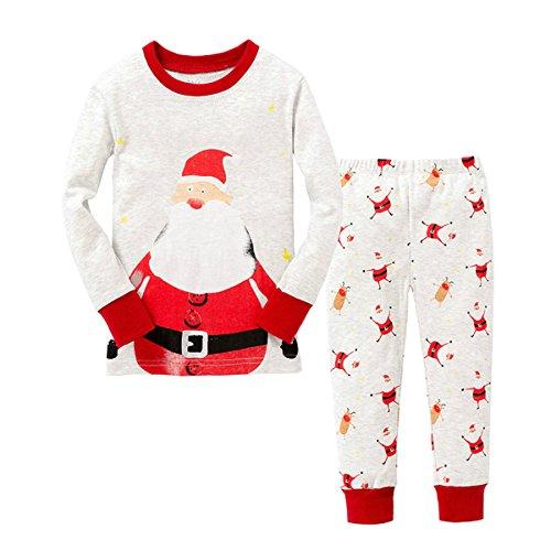 TMEOG Natale Pigiama due pezzi, Inverno domestico della neonata del bambino del ragazzo del pagliaccetto del neonato di Natale di inverno + pantaloni (1-2 Anni)