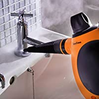 VonHaus Multi-Purpose Handheld Steam Cleaner | Corded Lightweight Steamer for Upholstery, Wallpaper, Tiles, Clothes | 250ML Tank | Includes Mop and Glass Attachment, Round Brush and Extension Hose from Domu UK