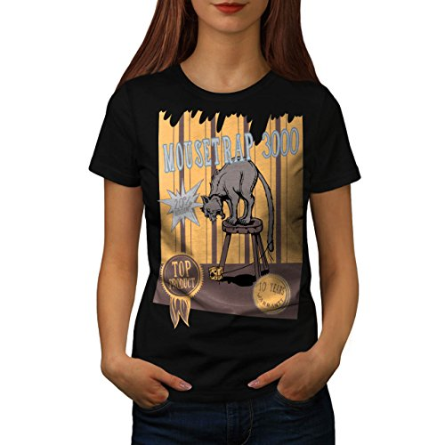 mouse-trap-cat-bait-cheese-lure-women-new-black-m-t-shirt-wellcoda