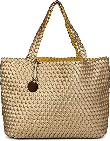 styleBREAKER XXL Wendetasche in Flecht-Optik, Shopper Tasche, Handtaschen Set, 2 Taschen, Bag in Bag, Schultertasche, Damen 02012163, Farbe:Gold / (Zwei Taschen Hobo)