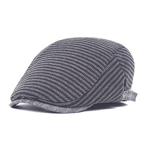 Unisex Newsboy Caps Comfortable Plaid Ivy Flat Caps Adjustable Black