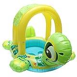 Baby Pool Float mit Dach, AOLVO aufblasbare Baby Pool Float mit Sonnenschutz & Himmel für Kinder Baby Kind Kleinkind Infant Cute Schildkröte Design grün
