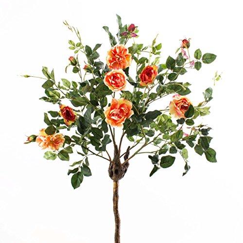artplants Set 2 x Deko Rosenkugelbäume mit 8 Blüten und 4 Knospen, Aprikose, 140 cm – Künstliche Rosen/Künstlicher Baum