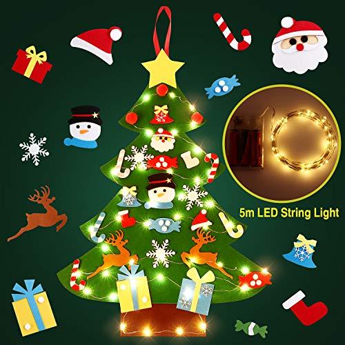 Soledi albero di natale in feltro per bambini eco-friendly albero natale feltro decorazione parete giocattolo educativo fai da te con 50 led catene luminose regali natale nuovo anno dei bambini