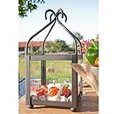 Varia Living Große Laterne/Windlicht aus Metall/Eisen mit viel Platz zum Dekorieren - drinnen oder draußen im Garten einsetzbar