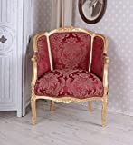 Rokoko Sessel Bergère en Confessional Louis XV ROT Palazzo Exclusive