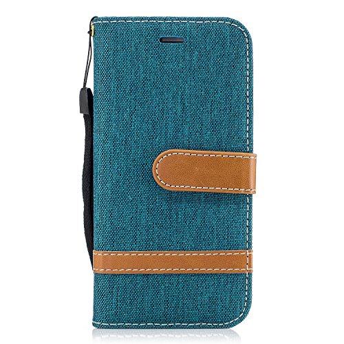 iPhone 6 Coque, Voguecase Étui en cuir synthétique chic avec fonction support pratique pour Apple iPhone 6/6S 4.7 (toile de jean-noir)de Gratuit stylet l'écran aléatoire universelle toile de jean-vert foncé