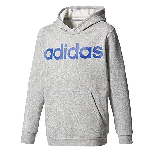 adidas Jungen Linear Hoody, Medium Grey Heather/Collegiate Royal, 152 (Collegiate Kapuzen-pullover)