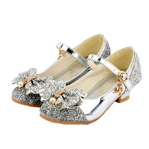HXD Mädchen Prinzessin Gelee Partei Absatz-Schuhe Sandalen Stöckelschuhe Schmetterling (EU 33, Silber)