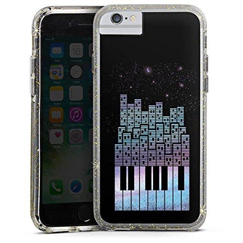 Apple iPhone X Bumper Hülle Bumper Case Glitzer Hülle Piano Klavier Klaviertasten Bumper Case Glitzer gold