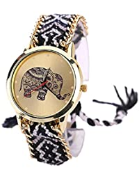 Malloom® mujeres dama retro elefante patrón cuerda tejida pulsera cuarzo reloj Relojes de pulsera Negro + blanco