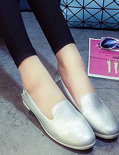 ZQ gyht Scarpe Donna - Mocassini - Tempo libero / Formale / Casual / Sportivo - Ballerina - Piatto - Finta pelle - Rosa / Bianco / Argento , silver-us8.5 / eu39 / uk6.5 / cn40 , silver-us8.5 / eu39 /  pink-us7.5 / eu38 / uk5.5 / cn38