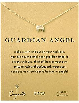 """Dogeared Halskette """"Guardian Angel"""", Flügel-Anhänger, 40,64cm lang mit 5cm Verlängerung, 585er Vergoldung"""