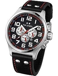 TW Steel Unisex-Armbanduhr Pilot Chronograph leder schwarz TW415