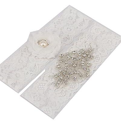 "TRLYC 2"" Wide*20"" Length White Wedding Lace Garter White Bridal Garter Set"