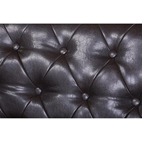 3-Sitzer Chesterfield Sofa Couch Garnitur ENIO, Kunstleder in antikbraun englischer Stil - 6