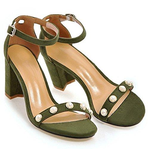 COOLCEPT Damen Mode Knochelriemchen Sandalen Blockabsatz Open Toe Schuhe Gr Grun