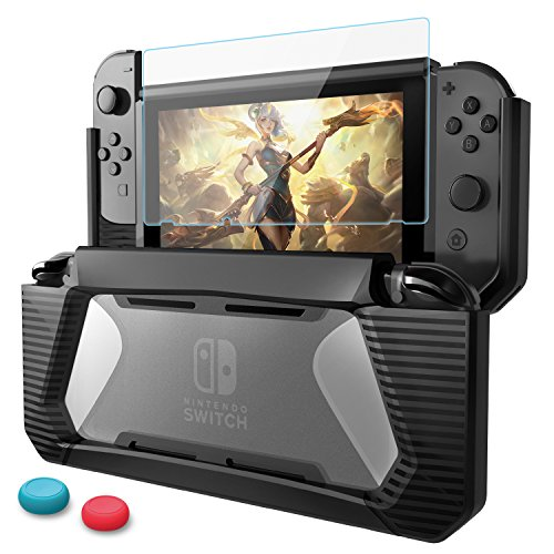 Funda Nintendo Switch con Protector de Pantalla,HEYSTOP TPU PC Carcasa de Protección para Nintendo Switch Consola,Anti-Choques/Arañazo (Negro)