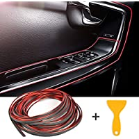 YOTINO Auto Zierleiste Auto Innenraum Zubehör Dekorative Streifen Line DIY 10M mit Spachtel(Rot)